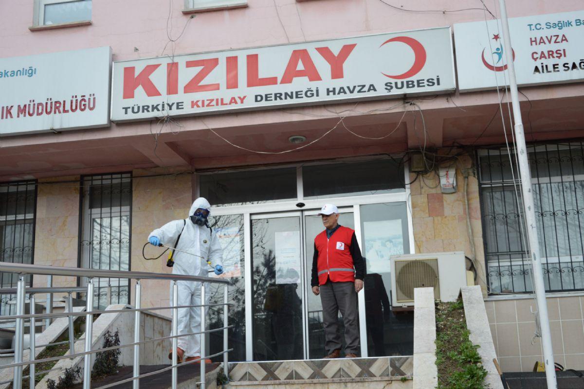 Havza'da Kızılay Binası Dezenfekte Edildi