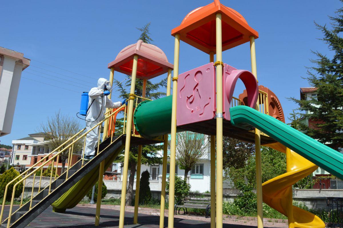 Havza'da Çocuk Parkları Dezenfekte Edildi